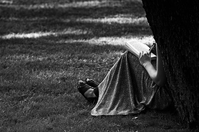 Une femme, dont on ne voit pas le visage, assise contre un arbre dans une tenue estivale, un crayon à la main posé sur un cahier qui repose sur ses genoux.